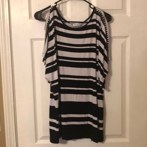 Peter Nygard black and white striped blouse